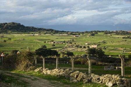 talavera de la reina: Landscape of mountains and meadows Stock Photo