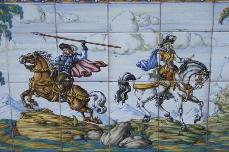 cavalry: Tiles Talavera ceramic, scene of cavalry Editorial