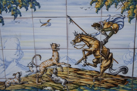 Tiles Talavera ceramic, scene of cavalry Editorial