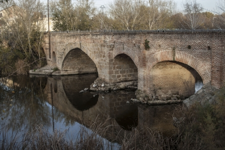 Tajo River, Puente Romano, Talavera Stock Photo