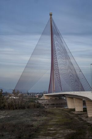 The cable-stayed bridge Talavera, Toledo, Spain