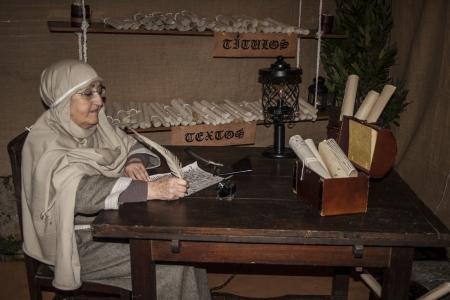 Living Bethlehem Christmas 2012, Navamorcuende, Toledo, Spain, clerk, scribe, Stock Photo - 17063176