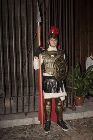 Living Bethlehem Christmas 2012, Navamorcuende, Toledo, Spain, Soldier, a Roman soldier, spear, shield,