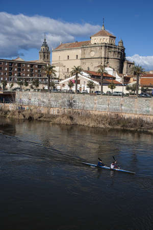 View of San Prudencio, Tagus River, canoeists, Talavera, Toledo Stock Photo