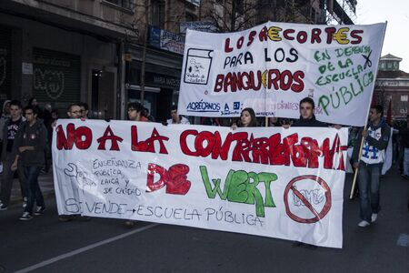 protesters: Protesters against cuts in education, Spain,