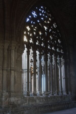 latticework: Latticework of an arch of the cloister  Detail of the cathedral, La Seu Vella, Lleida,