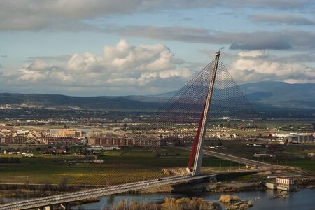 public works: The cable-stayed bridge Talavera, a construction a dimension of 185 meters Stock Photo