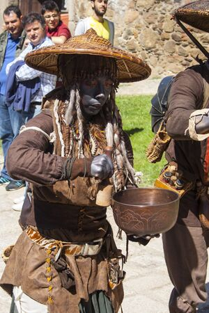 fiestas: tibentanos musicians performances, Medieval Market, Oropesa, Toledo, Spain, 21 04 2013 Editorial