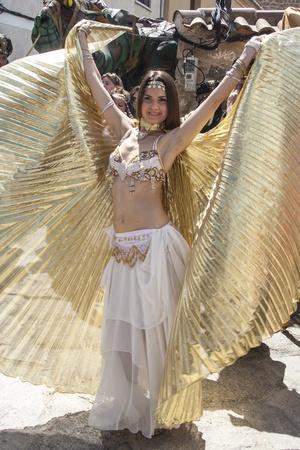 fiestas: Arabian dancer, Medieval Market, Oropesa, Toledo, Spain, 21 04 2013