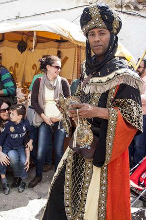 fiestas: Arabian Musician, Medieval Market, Oropesa, Toledo, Spain, 21 04 2013