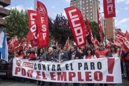 Manifestation contre le chômage Talavera, Tolède, en Espagne, 27/04/2013 Banque d'images - 19295496