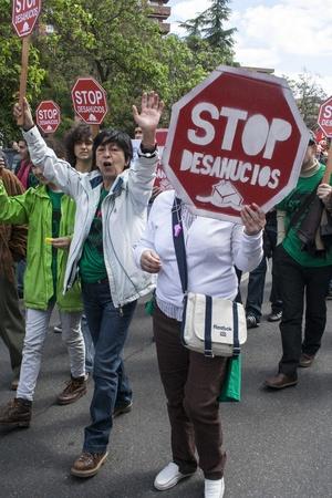 Manifestation contre le chômage Talavera, Tolède, en Espagne, 27/04/2013 Banque d'images - 19295497