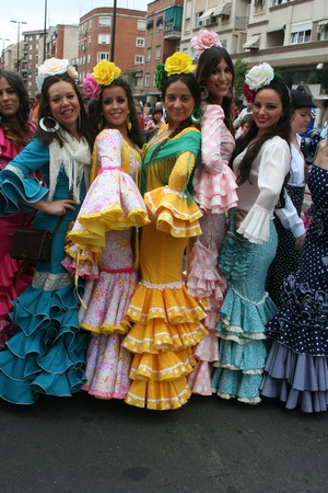 san isidro: Sevillana suit, Festivals of San Isidro, Talavera May 15, 2013 Editorial