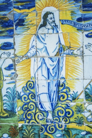 talavera de la reina:  resurrected Jesus, tiles of the Basilica del Prado of Talavera de la Reina, which was called The Queen of the Chapels by Philip II, is also called the Sistine Chapel of ceramics, for this colorful art shows here all its splendor from the century until to
