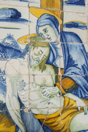 A Pieta, carreaux de céramique Talavera de la Reina, Tolède, Espagne Banque d'images - 53811544
