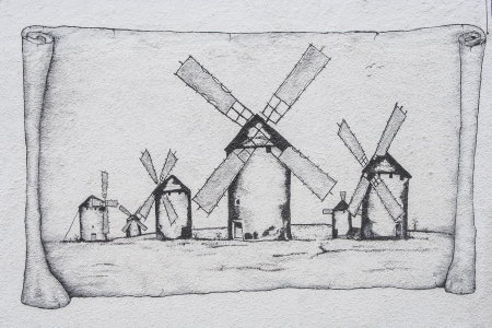 Drawing of the Windmills of La Mancha