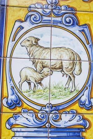 talavera de la reina: Ceramics of Talavera de la Reina, rosette of a sheep and lamb