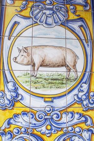 talavera de la reina: Ceramics of Talavera de la Reina, rosette, a pig