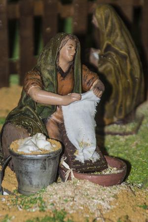 Pequeñas figuras Belen portal, decoración de Navidad, Foto de archivo - 24717129