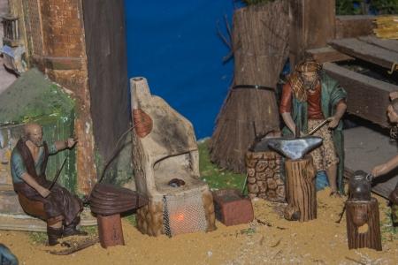 Pequeñas figuras Belen portal, decoración de Navidad, Foto de archivo - 24717169