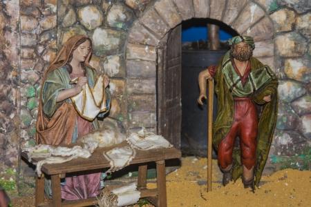 Pequeñas figuras Belen portal, decoración de Navidad, Foto de archivo - 24717189