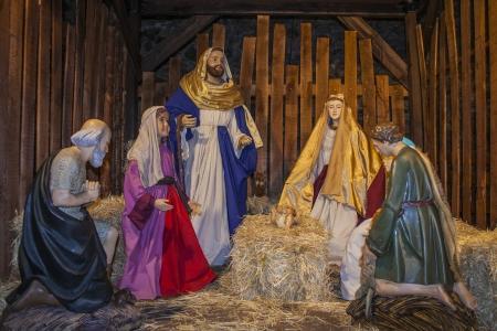 Little figures Belen portal,  christmas decoration, Stock Photo