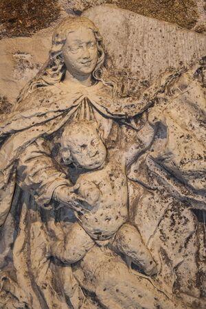 stone sculpture of religious art,