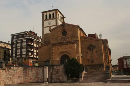 Facade Church of San Bartolome, Nava, Asturias, Spain Stock Photo