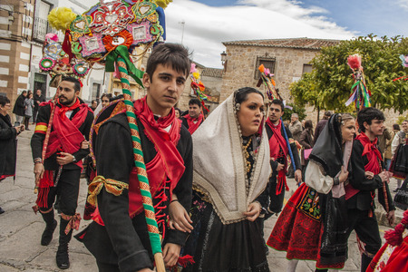 Traditional celebrations Carnaval de Animas, Valdeverdeja, Toledo, Spain Editorial