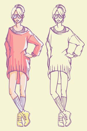 Street style look - baggy knitted dress, socks and boots. Colorful hand drawn fashion illustration and outline sketch
