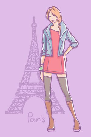 Vector fashion illustration. Top model in mini dress, stockings and jeans jacket standing and posing with Eiffel Tower on background Vectores