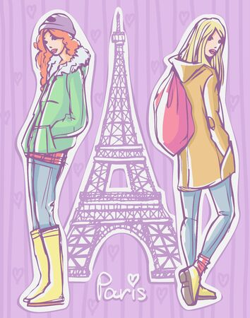 Fashion illustration. Two girls in winter / autumn / spring season clothes standing and posing with Eiffel Tower on background Vectores