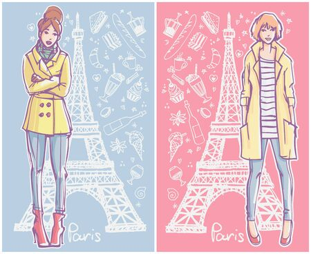 Two fashion illustration cards. Young women in winter / autumn / spring season clothes standing with Eiffel Tower and cafe doodles on the background.