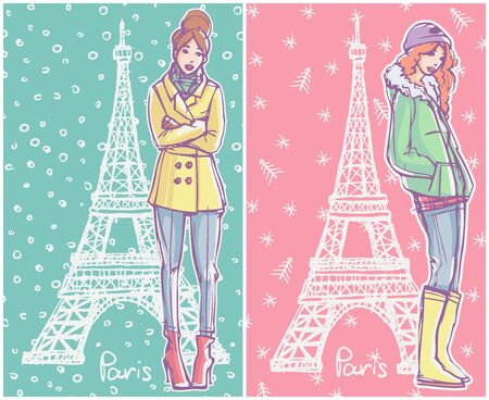 Fashion Illustration. Girls in winter season outfits standing and posing with Eiffel Tower on background.