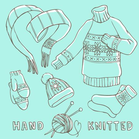 Set of winter hand knitted clothes - scarf, sweater, mittens, hat, socks.