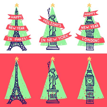 New Year greeting cards. Famous landmarks - Eiffel Tower, Statue of Liberty, Big Ben - with Christmas tree triangle silhouette on the background Vectores