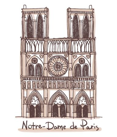 Hand drawn sketch of the Notre-Dame de Paris, France. Vector drawing isolated on white background