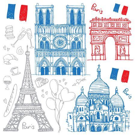 Set of hand drawn sketches of the famous landmarks of Paris, France - Eiffel Tower, Basilica of the Sacred Heart, Notre-Dame de Paris, Triumphal Arch