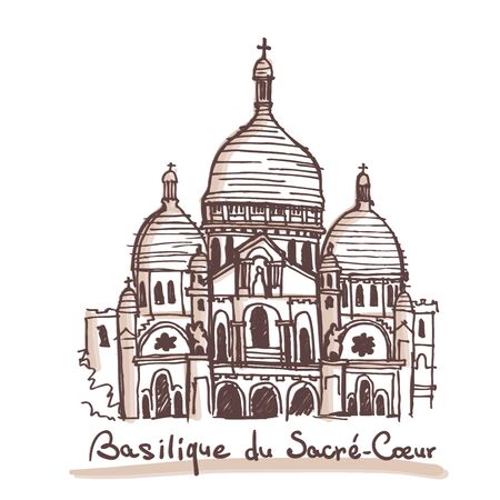 Hand drawn sketch of The Basilica of the Sacred Heart of Paris, France. Vector drawing isolated on white background Vectores
