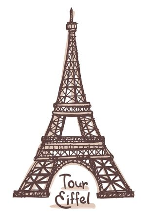 Hand drawn sketch of the Eiffel Tower, Paris, France. Vector drawing isolated on white background