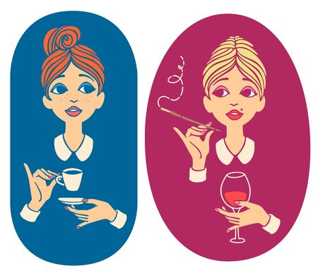Two colorful vintage portraits - young red haired woman drinking coffee and blonde lady drinking wine and smoking