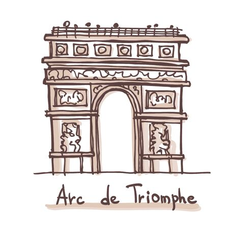 Hand drawn sketch of the Arc de Triomphe (Arch of Triumph), Paris, France. Vector drawing isolated on white background Vectores