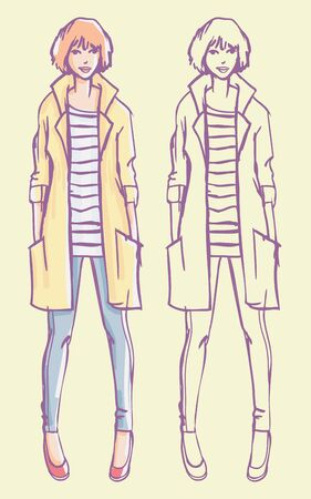 Street style look - yellow raincoat, striped shirt and jeans. Colorful hand drawn fashion illustration and outline sketch