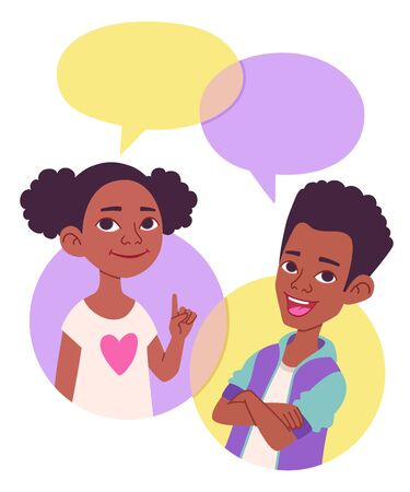 Two cartoon style school kids vector illustration, comics speak bubbles with empty space for text. Black African American children talking, asking and answering questions, advising, helping. Vectores