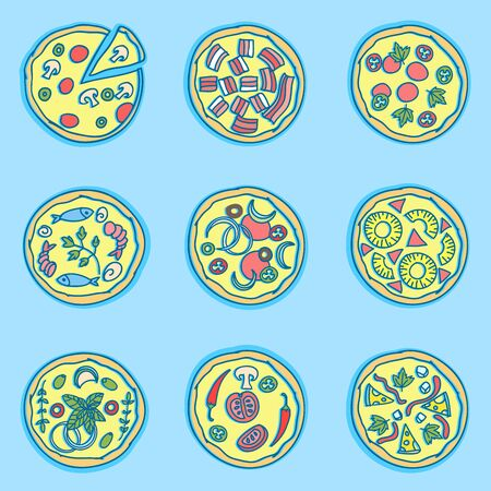 Italian pizza doodles set. Simple colorful drawings. Seamless Pattern