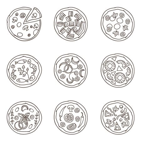 Italian pizza doodles set. Simple outline drawings. Seamless Pattern