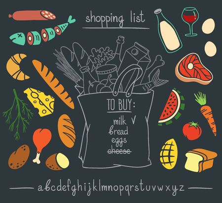 Shopping bag with food and drinks on blackboard. Hand drawn vector illustration set of colorful cartoon style stickers and handwritten font.