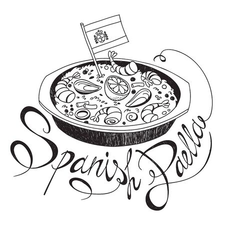 Freehand sketch style drawing of seafood paella pan with Spanish flag and hand written lettering. Vector hand drawn illustration isolated on white background for cafe menu Illustration