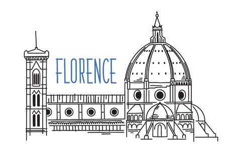 Sketch of Florence Cathedral Santa Maria del Fiore (Saint Mary of the Flower) in Italy. Hand drawn vector illustration isolated on white backgound. 矢量图像