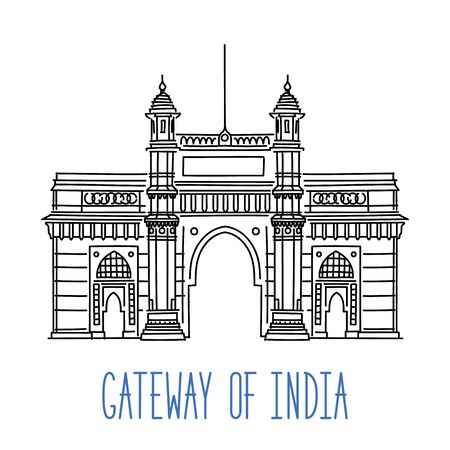 Gateway of India, Mumbai sketch. Hand drawn outline vector illustration isolated on white background  イラスト・ベクター素材